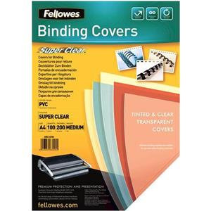 Fellowes A4 200 Microns PVC Cover Clear
