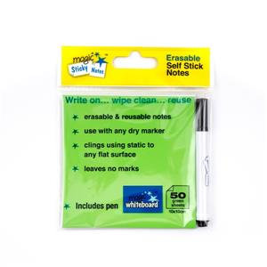 Magic Whiteboard (50 Sheet) Magic Sticky Notes (Green)