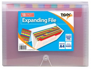 Tiger A4 13 Part Rainbow Expanding File