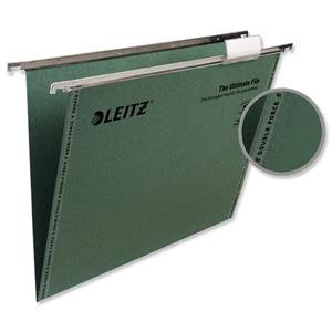Leitz Suspension File (Foolscap) Green Recycled with Tabs Inserts V-Base