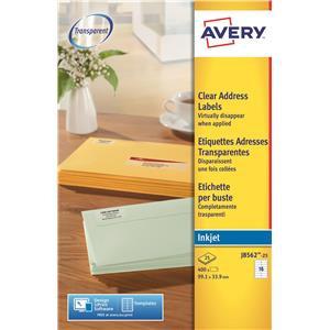 Avery J8562-25 Clear Inkjet Labels