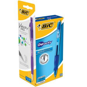 Bic Velocity Gel Rollerball Pen Comfort Grip Retractable Black + 1 Free Pencil