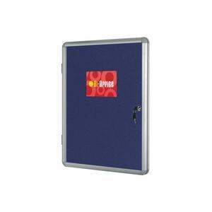 Bi-Office Lockable Internal Display Case 900x600mm Blue Felt Aluminium Frame