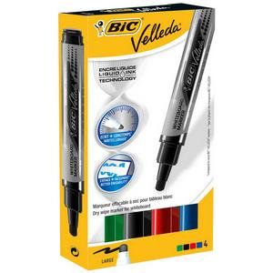 Bic Velleda Liquid Ink Pocket Dry Wipe Whiteboard Markers (Assorted Colours)