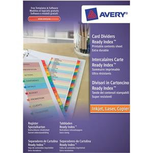 Avery ReadyIndex (A4) Dividers Card with Coloured Sheet Matching Mylar Tabs