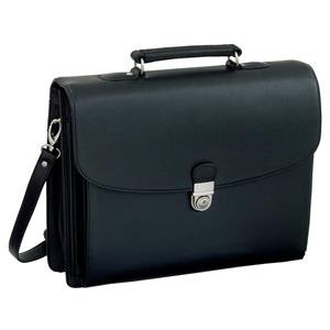 Alassio Forte Leather-look Briefcase with Shoulder Strap (Black)