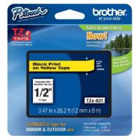 Brother 12mm Black on Yellow Laminated Labelling Tape (8m)