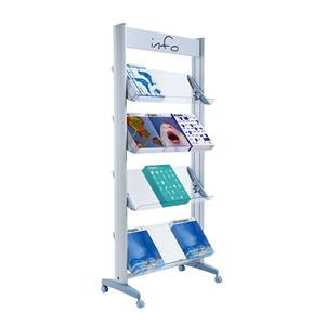 Fast Paper Wide Mobile Display with Plexiglass Shelves Aluminium Grey DD