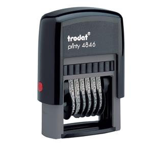 Trodat Printy 4846 Band Self-inking Number Stamp (6 Bands of 0-9) 24mm x 4mm