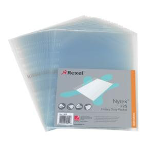 Rexel Nyrex (A4) Heavy Duty Side Opening Pockets (Clear)