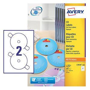 Avery 117m Dia White Full Face CD/DVD Label - Laser