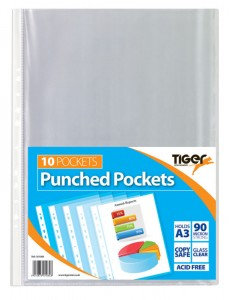 Tiger A3 Punched Pockets  (Pack 10)
