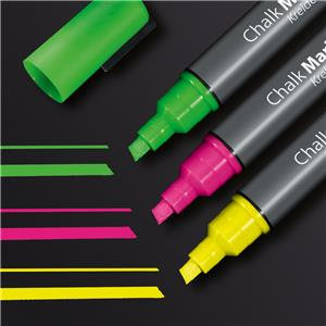 Sigel Chalk Marker 50 Chisel Tip 1-5 mm (Pink/Green/Yellow)