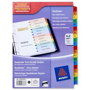 Avery ReadyIndex (A4) Dividers Card with Coloured Contents Sheet Matching Mylar