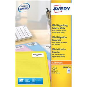 Avery Mini Laser Labels White (Various Sizes and Pack Sizes)