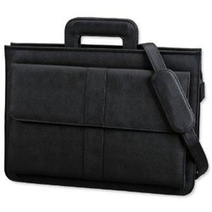 Alassio Multi-Section Zipped Document Case (Black)