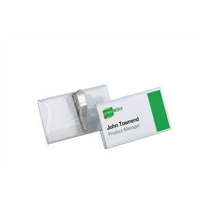 Durable (54x90mm) PVC Crocodile Clip Name Badge (Transparent)