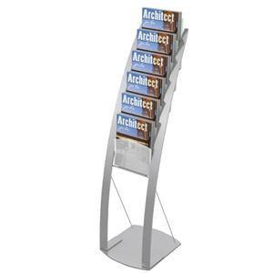 Deflecto (A4 Portrait) Contemporary Floor Stand (Silver)