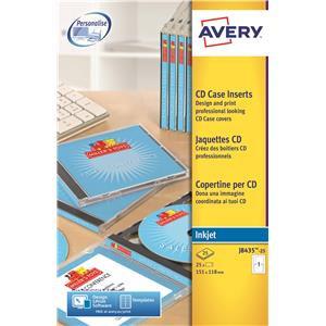 Avery J8435-25 White CD Case Insert Inkjet
