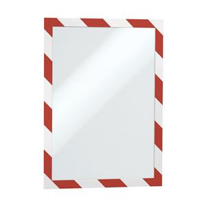 Durable DURAFRAME (A4) Self-Adhesive Magnetic Security Frame Red/White