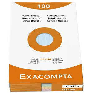 Exacompta Record Cards Paper Lined (100) Record Cards