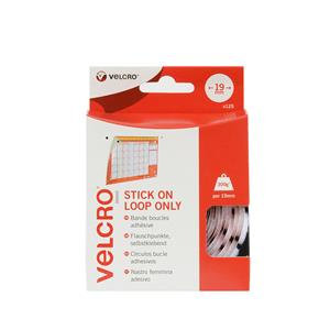 Velcro Brand Stick On Loop Only Coins 19mm White