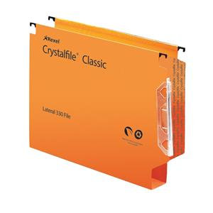 Rexel Crystalfile Extra Lateral File 30mm 300 Sheets (Orange)