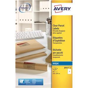 Avery J8567-25 Clear Inkjet Labels
