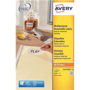 Avery Removable Mini Labels White (Various Sizes and Pack Sizes)