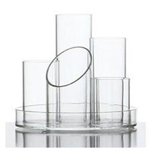 Osco Clear Acrylic 5 Tube Pen Pot