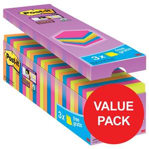 Post-It Super Sticky (76x76mm) Notepads (Assorted) 24 Pads