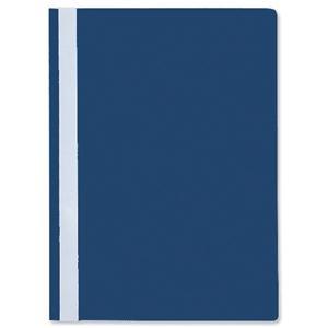 Esselte A4 Report Flat File Lightweight Plastic Clear Front Dark Blue
