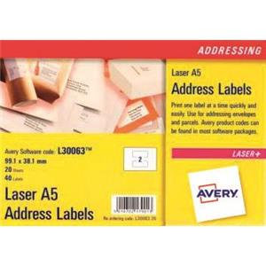 Avery White A5 Laser Addressing Labels