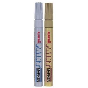 Uni-Ball PX-20 Medium Paint Marker Bullet Tip (2.2-2.8mm) 1 x Gold/1 x Silver