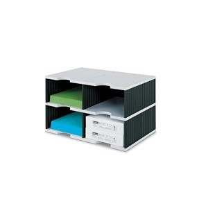 Styro Styrodoc Duo Jumbo Standard Base Unit 4 Compartments Grey Base/Black Sides