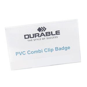 Durable (54x90mm) PVC Combi Clip Name Badge with Pin and Clip Fastening