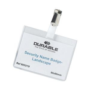 Durable (60x90mm) PVC Security Name Badge Landscape (Transparent)