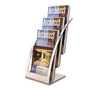 Deflecto Contemporary 3-Tier Counter Top Literature Holder (Silver)