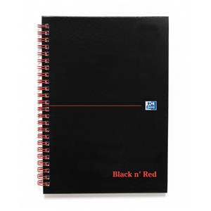 Black n Red A4 Book Wirebound 90gsm Quadrille 5mm 140 Pages