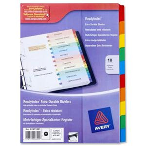 Avery ReadyIndex (A4) Dividers with Coloured Contents Sheets 10-Part