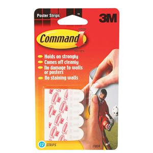 3M Command Adhesive Poster Strips Clean-removing Holding Capacity 0.45kg White