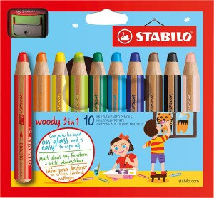 Stabilo Woody 3-in-1 Colouring Pencils Wax Crayons Watercolour L-10mm Assorted