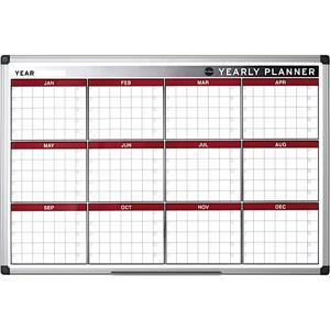 Bi-Office Maya (900 x 600mm) Yearly Planner (12 Months) Aluminium Frame (Single)