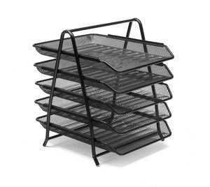 Osco Mesh Front Load 5-Tier Letter Tray (Black)