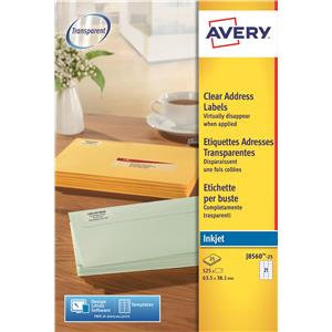 Avery Clear Addressing Labels 21 per Sheet 63.5x38.1mm
