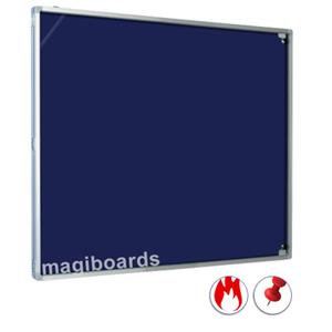 Magiboards Lockable Fire Rated Felt Noticeboard Portrait (Blue)