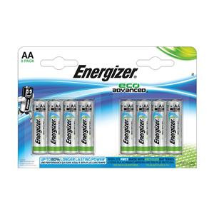 Energizer EcoAdvanced (AA) Alkaline Batteries (Pack of 8 Batteries)