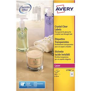 Avery Crystal Clear Round Labels Clear (Various Sizes and Pack Sizes)
