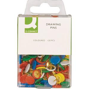 Q-Connect Drawing Pins Assorted Colours 120 pins /Pack