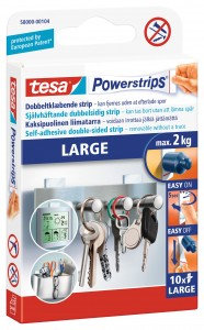 Tesa Powerstrips Poster (Up to 2kg) Large Removable Self Adhesive Strips (White)